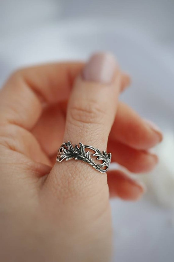solid sterling silver Northern red forest branches  jewelry Druid leaf Canadian oak ring silver twig wood elven branch tree woman man