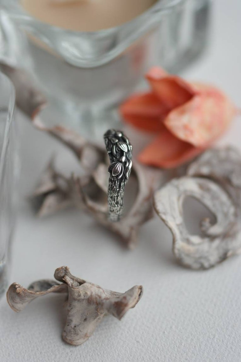 bark branch little forest floral spring jewelry for woman girl Snowdrops flowers silver ring women/'s gift delicate accessory