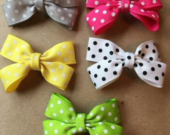 Polka dot hairbow clip set - set of 5 or available in pairs