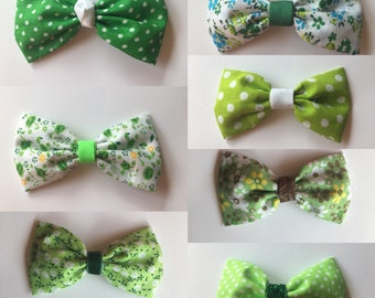 Green fabric bows in 7 designs. On hair clips or hair ties