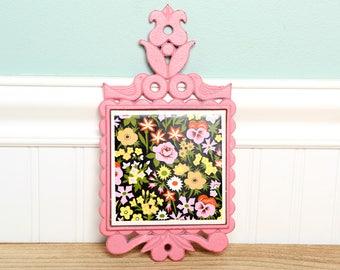 SALEVintage Kitchen Trivet - Cast Iron Trivet - Pink Floral Trivet - Napco - Napcoware - Japan