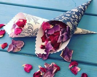 Confetti Cones, Wedding Cones, Paper Cones, Petal Cones, Flower Cones, Sweet Cones, Wedding Confetti, Flower Toss (Parisienne Blue)