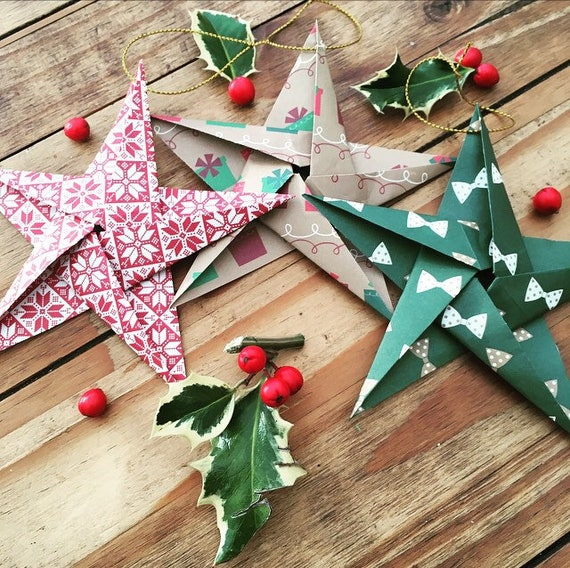 Fold Your Own Christmas Decorations Seasonal Origami Stocking Filler Xmas Gift