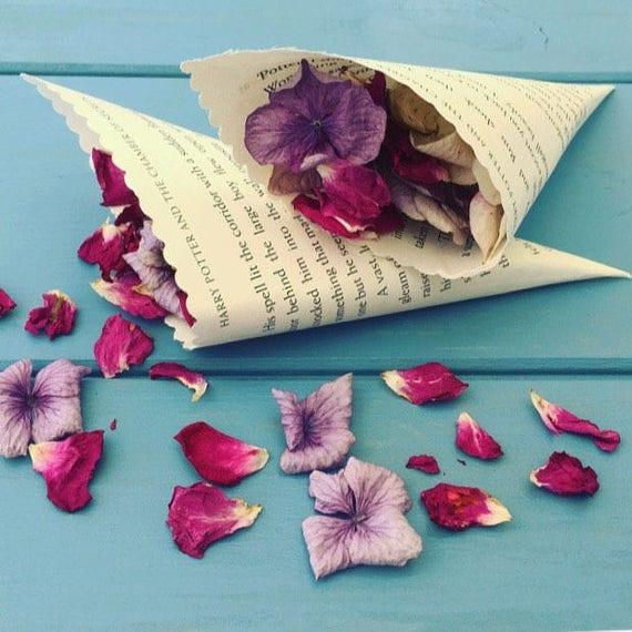 50 book confetti cones book page cones petal cones paper mightylinksfo