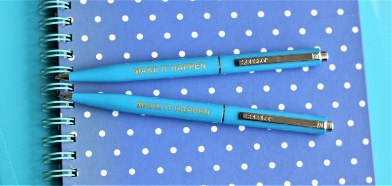 thinking of you good luck gift Make It Happen light blue pen motivational pen new job gift