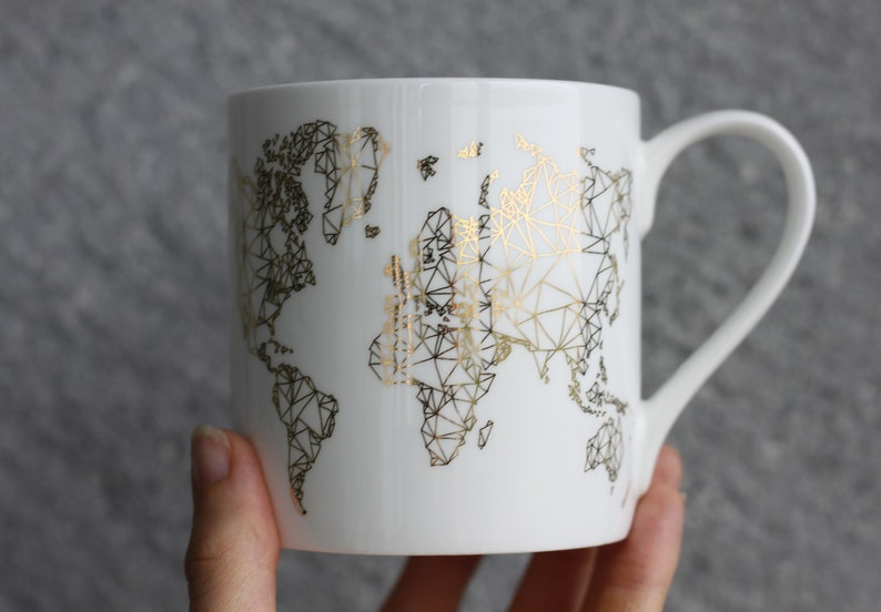 World map mug printed in gold best gifts for travel lover