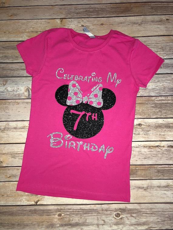 Girls Minnie Mouse Be Happy T-Shirt Glitter Purple