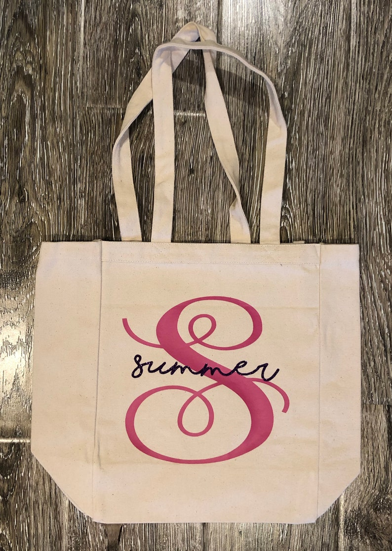MONOGRAM TOTE Gift For Mom Personalize Tote Teachers Appreciation Cute Tote Monogram Bag Shopping Bag Teachers Gift Mothers Day Gift