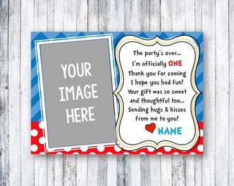 Thank you cards   Dr. Seuss Cat in the Hat Kid's birthday party  Printable Digital Download or shipped   Custom   Personalized