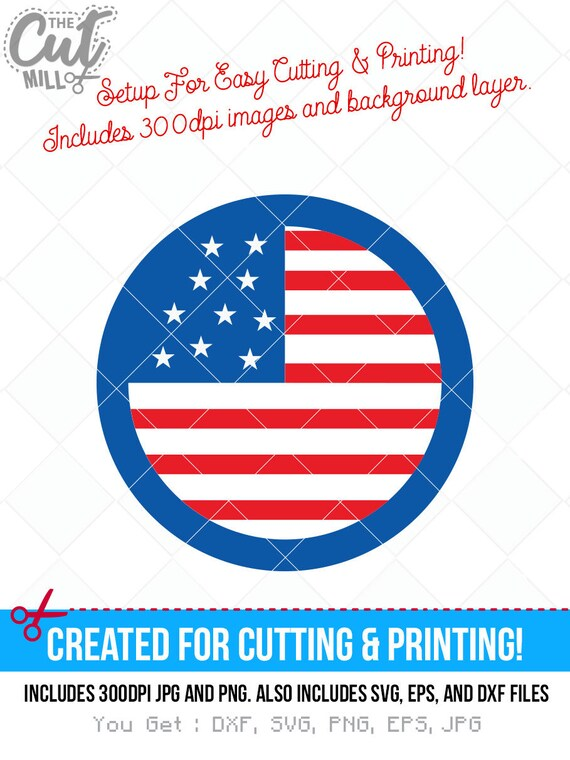 4th Of July Usa Flag Icon Svg Cut File 4th Of July Dxf Svg Etsy