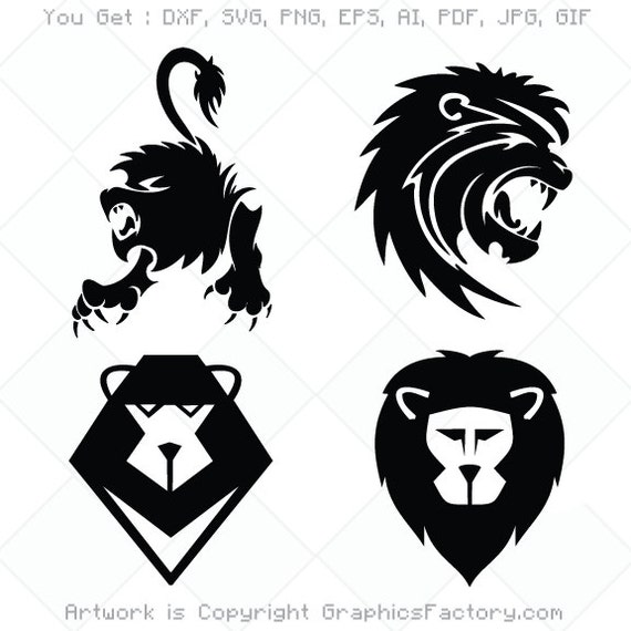 Lion Svg Cutting Files Lion Head Clipart Svg Dxf Png Etsy