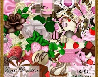 Chocolate Strawberry Swirl  Scrapbook, Scrap book, Scrapbooking Kit