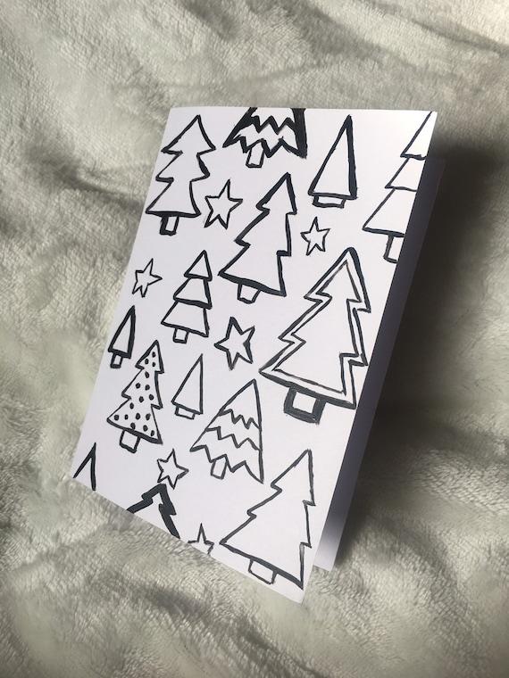 Carte De Biscuits Pour Le Sapin De Noël Noir Et Blanc