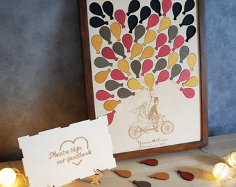 Fall Wedding Guest Book Alternative Wedding Puzzle Guest Book Sign Wood Guestbook Frame Bike Guest Book Balloons Puzzle Autumn Fall Couple