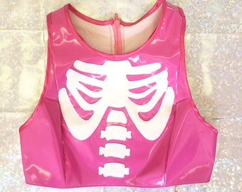 BAD BONES Pink PVC Ribcage Top