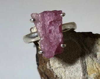Raw pink tourmaline  on sterling silver ring size 9.5