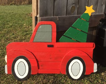 large red christmas truck sign wooden red truck christmas truck with tree pallet treechristmas decor pallet wood art 3d yard art - Christmas Truck Decor