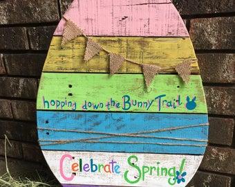 Celebrate Spring Pallet Wood Egg Sign / Easter Sign / Egg Sign / Spring Sign / Rustic Easter decor /Rustic Spring decor