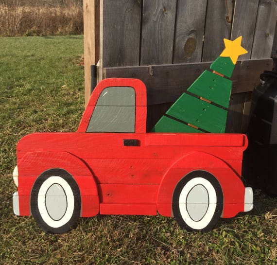 Red Christmas Truck.Large Red Christmas Truck Sign Wooden Red Truck Christmas Truck With Tree Christmas Decor Pallet Wood Art 3d Yard Art Free Shipping