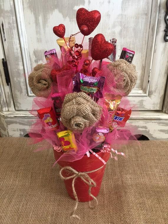 Burlap Flower Candy Bouquet Candy Bouquet Candy Pot Etsy