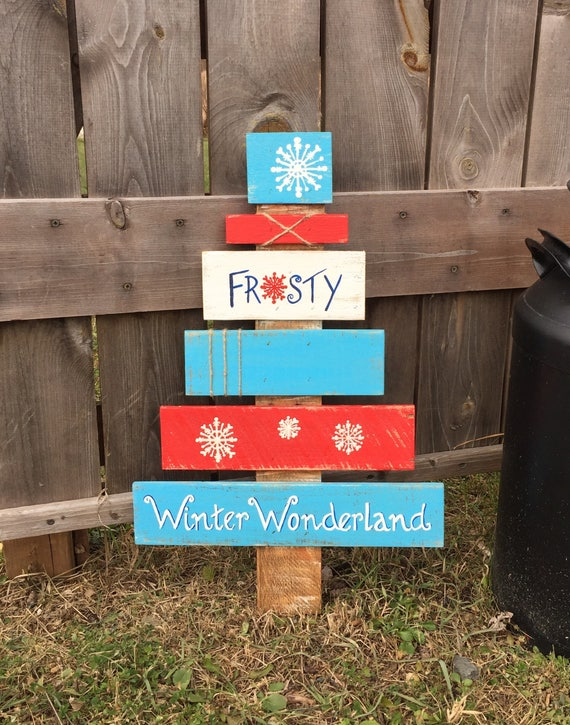 Rustic Wooden Christmas Tree Wooden Pallet Christmas Tree Pallet Tree Frosty Sign Winter Wonderland Sign Christmas Decor
