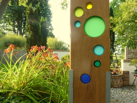 Garden Sculpture Made Of Wood And Glass Garden Decoration As Etsy