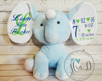 Birth announcement stuffed animal, elephant, newborn present, newborn gift, baby shower, baby gift, baby present, stuffed elephant
