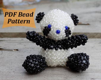 Beaded pattern Tuto amigurumi 3d bead pattern 3d beaded patterns Beading  tutorial Bead making Bead making tutorial Beaded doll pattern panda 91b4c7e6fe