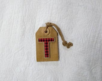 Buffalo Check Letter T Wooden Monogram Tag