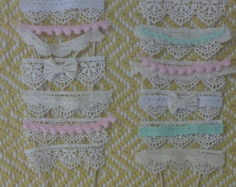 Shabby Chic Cupcake Toppers (Set of 12)