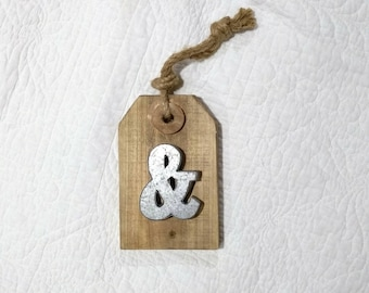 Ampersand Rustic Wooden Tag