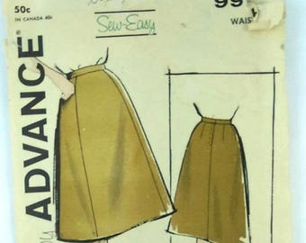 Vintage Advance Sewing Pattern 9916 Easy Sew Misses Skirt Size 28 Waist 50s 60s
