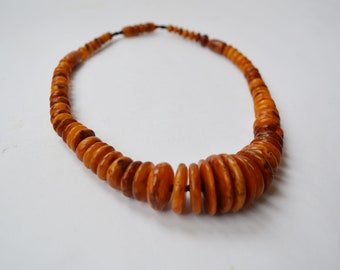 Nice Antique Vintage Graduated Amber necklace Russian Baltic jewellery jewelry