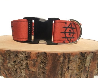 Dog Collar/ Southwest Dog Collar/ Burnt Orange Dog Collar/ Fabric Dog Collar
