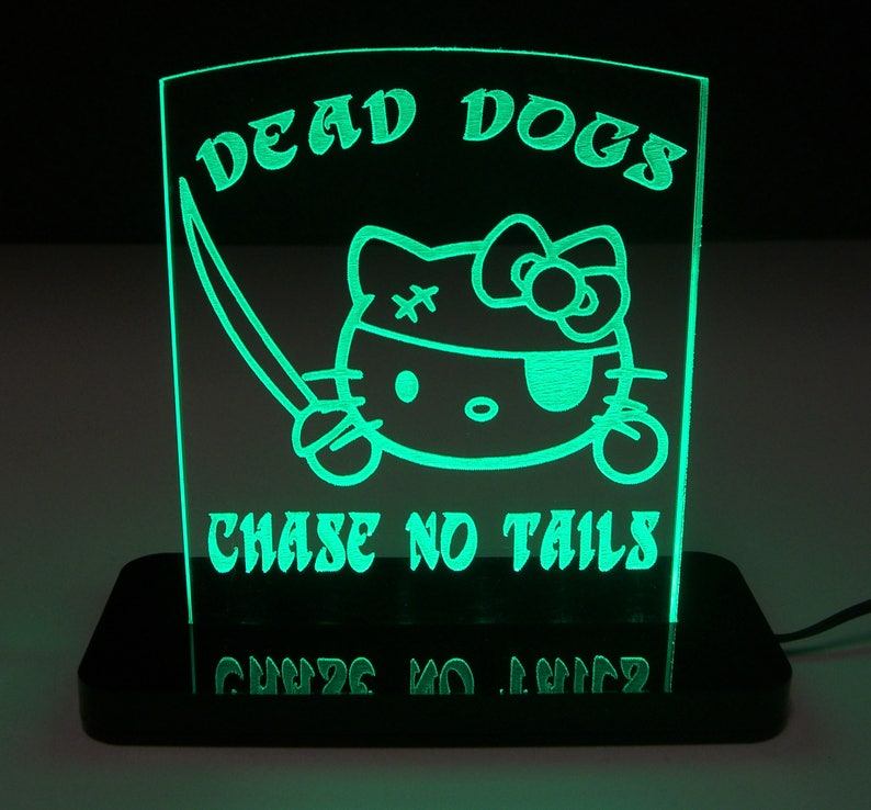Hello Pirate Kitty LED Edge Lit Acrylic Nightlight / Sign / Lamp / Sculpture