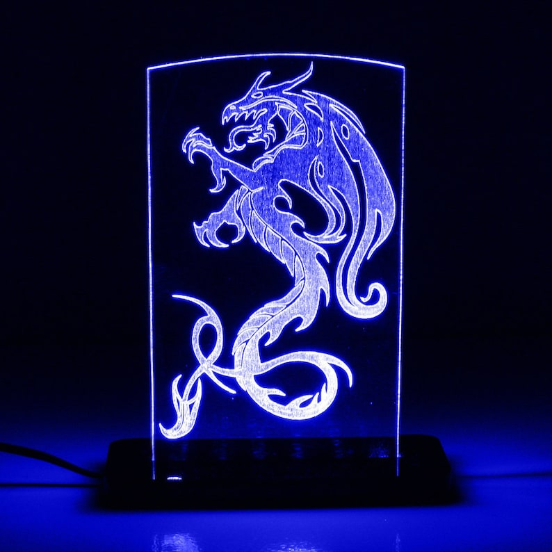 Tribal Dragon LED Edge Lit Acrylic Sign / Nightlight / Lamp / Sculpture
