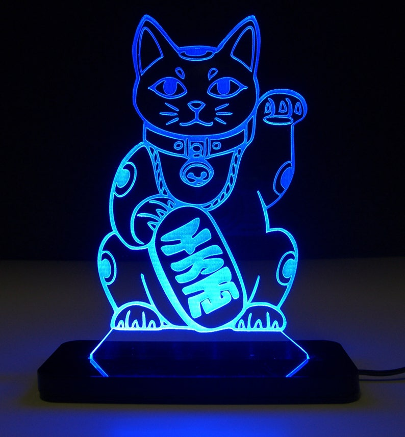 Maneki Neko (Lucky Cat) LED Edge Lit Night Light / Sign / Sculpture