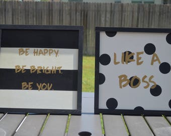 Set of two 12x12 Wood Signs - Like a Boss - Be Happy Be Bright Be You
