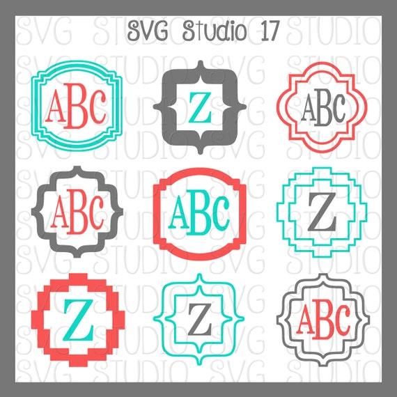 SVG Monogram Frames Cricut Cut Files Silhoutte Cut files   Etsy