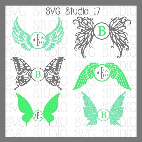 Wings SVG Monogram Frames Butterfly Wings Angel Wings Fairy | Etsy