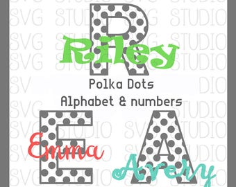 Polka Dot Alphabet Set, SVG Letters, SVG Fonts , svg File, dxf File, Cricut Cut File, Silhoutte Cut File