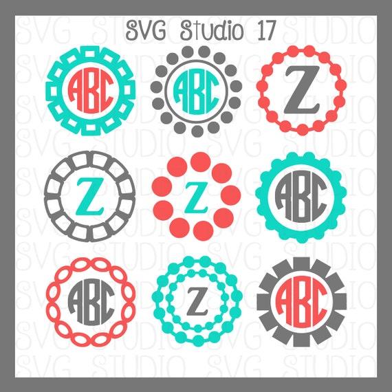 Cuadros del monograma de SVG círculo SVG Marcos Cricut