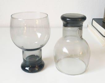 Vintage Smoke Gray Glass Goblets + Set of 2 + Mid Century Modern Glassware + Retro Barware + Bubble Pilsner Beer Glasses