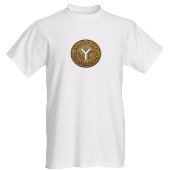 1970s Men's Shirt Styles – Vintage 70s Shirts for Guys Nyc Subway Token White $26.99 AT vintagedancer.com