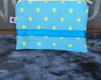 Handmade turquoise and lemon polka dot coin purse