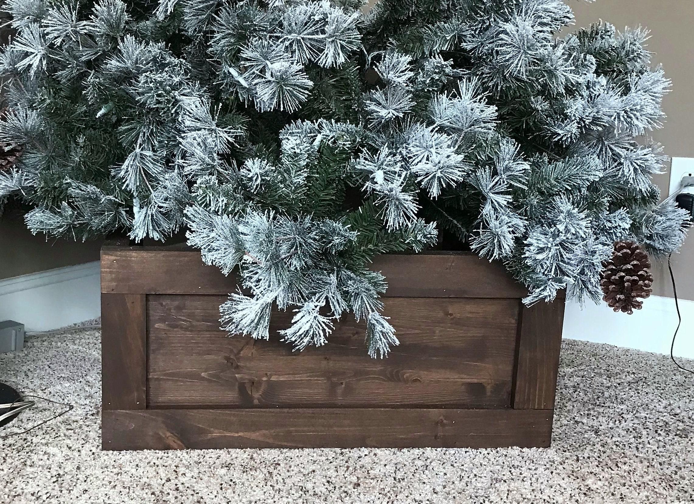 Folding Wood Christmas Tree Box Stand Wood Tree Skirt Etsy