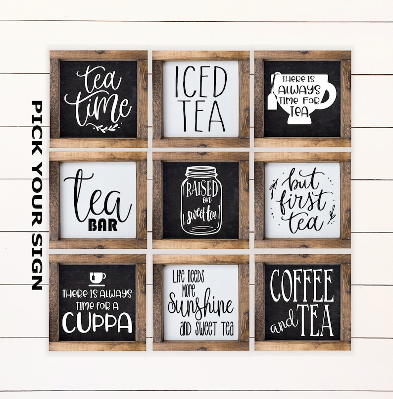 Tea Bar Kitchen 6x6 Farmhouse Signs for Tiered image 0