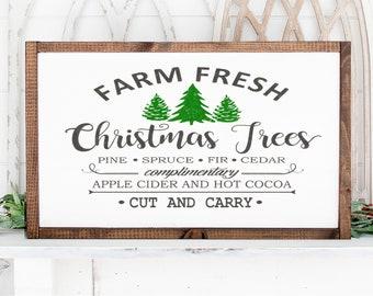 "Farm Fresh Christmas Trees Farmhouse Style Sign 13.5""x25.5"". Farmhouse Christmas, Tree Farm Sign, Rustic Wood Sign, Christmas tree sign"
