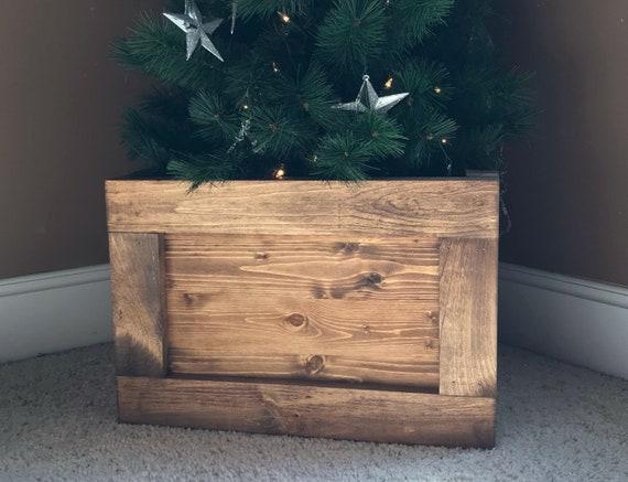 Folding Slim Tree Christmas Tree Box Stand Wood Tree Skirt Etsy