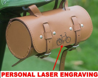 PERSONALISED Roll Saddle Bag Handcrafted Bicycle Bike Leather Bag